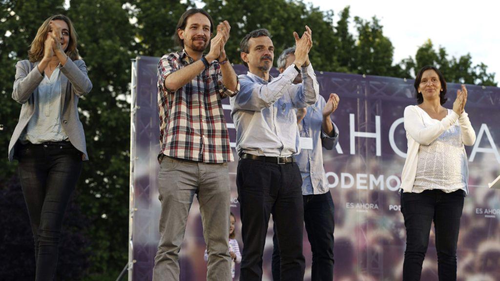 Pablo Iglesias durante un mitin en Alcalá de Henares