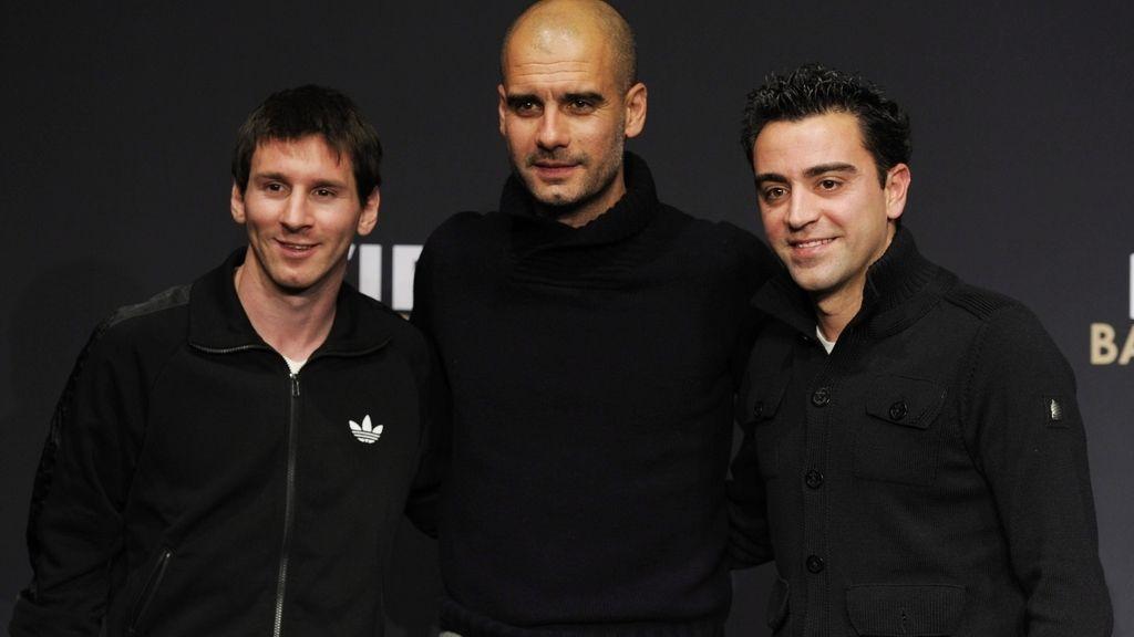 Guardiola, Messi y Xavi posan en la previa