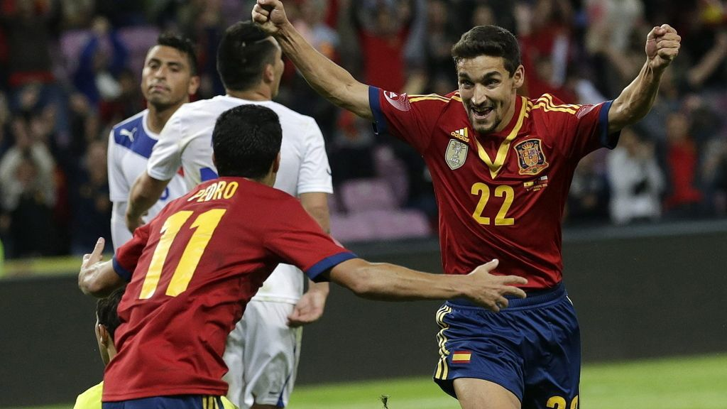 Jesús Navas celebra su gol ante Chile