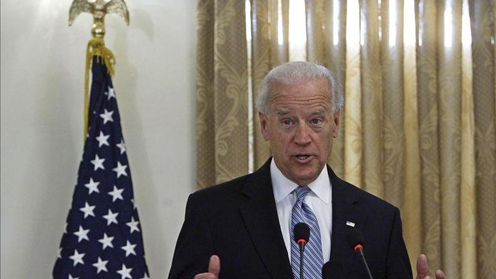 El vicepresidente estadounidense, Joe Biden, ayer en Afganistán. EFE