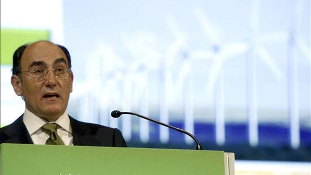 El presidente de Iberdrola, Ignacio Sánchez Galán, durante su intervención en la Junta General de Accionistas celebrada en Bilbao. EFE/Archivo