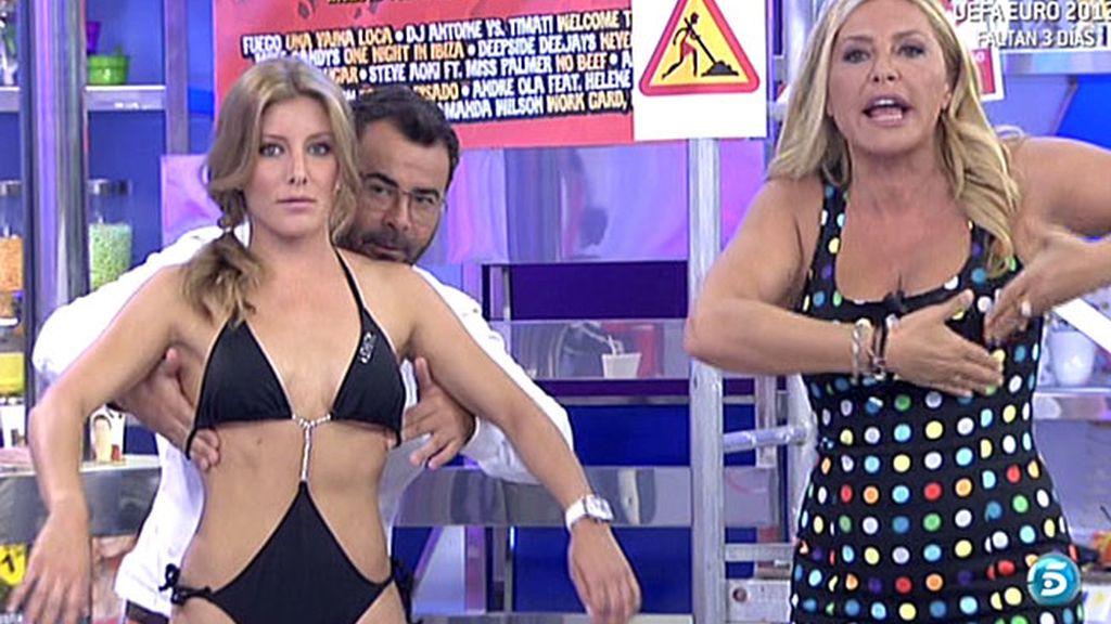 Jorge Javier practica con una guapa modelo y con sus colaboradoras