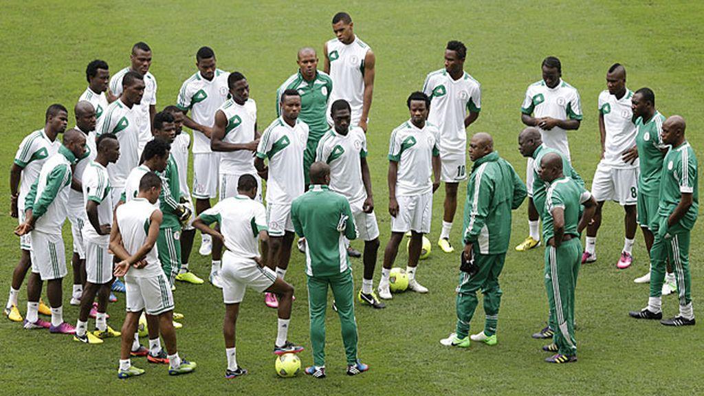 La selección nigeriana, en un entrenamiento.