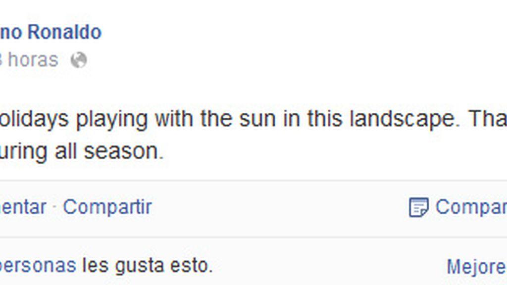 Cristiano arrasa en Facebook con su primera foto de vacaciones
