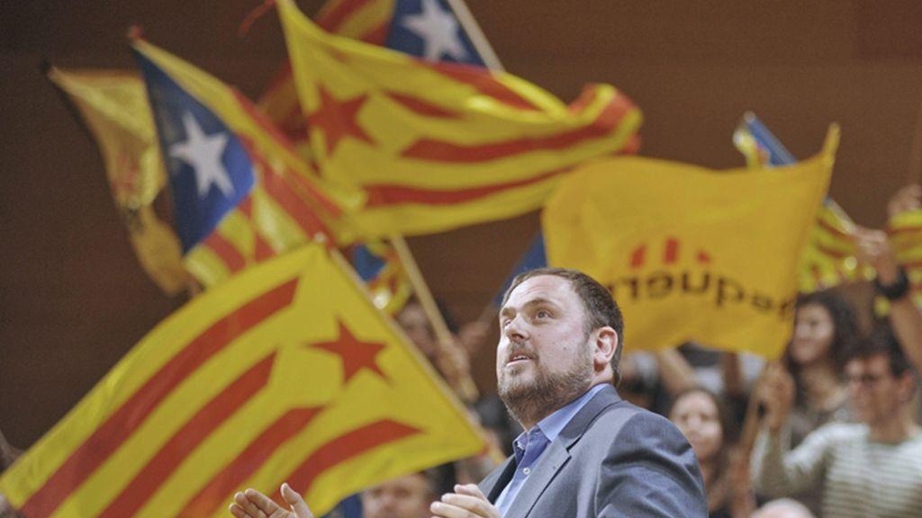 Oriol Junqueras cierra la campaña electoral en Girona