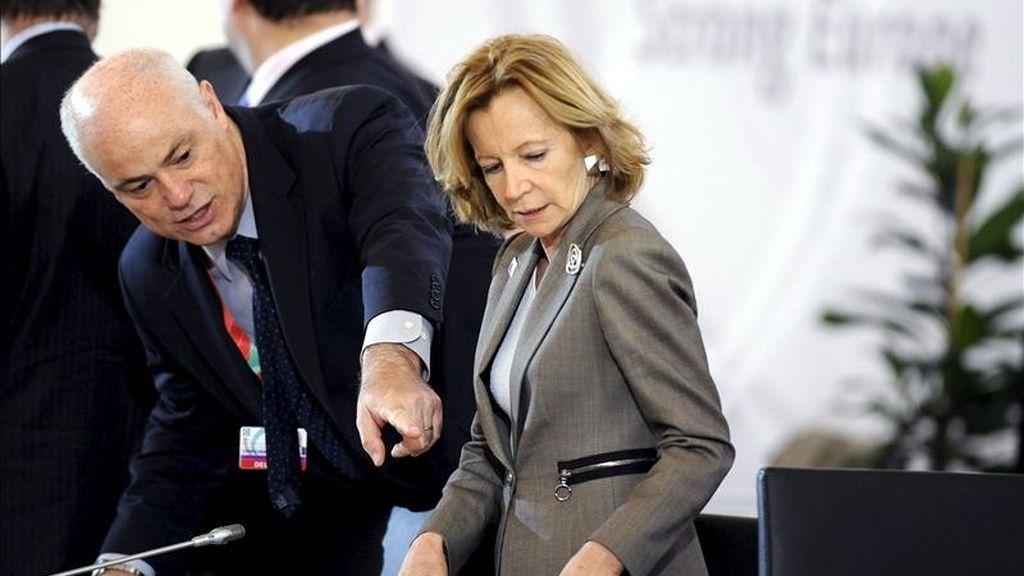 La ministra española de Economía y Hacienda, Elena Salgado, durante la segunda jornada de una reunión informal de ministros de Economía y Finanzas (Ecofin) de la UE en Godollo, al noreste de Budapest (Hungría), hoy, 9 de abril de 2011. EFE