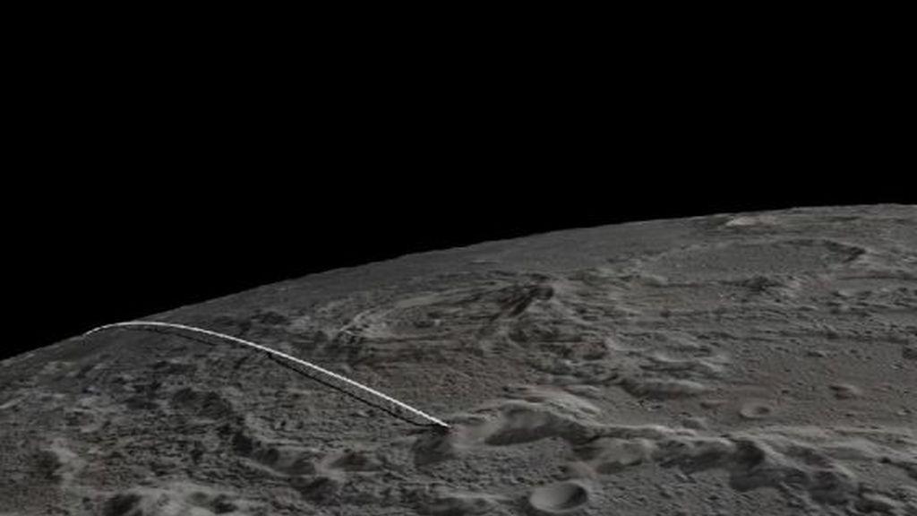 Trayectoria final de los robots gemelos de la misión Grail hasta chochar contra una montaña de la Luna