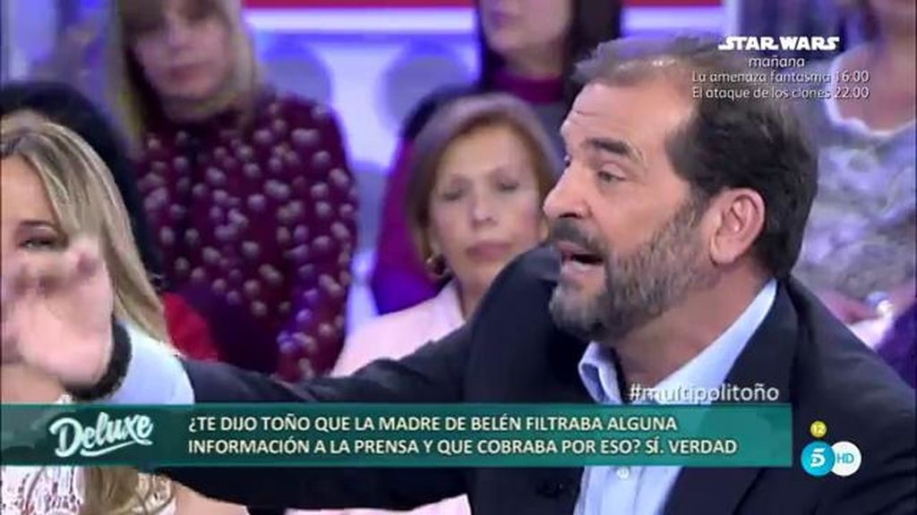 Toño Sanchís asegura que la madre de Belén Esteban filtra información y cobra por ello