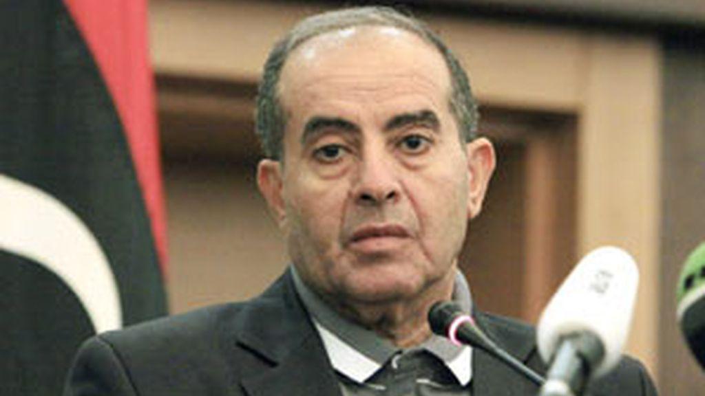 El primer ministro libio, Mahmud Jibril durante el anuncio de la muerte de Gadafi FOTO: EFE