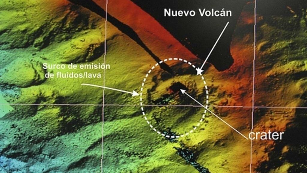 El volcán, desde el aire
