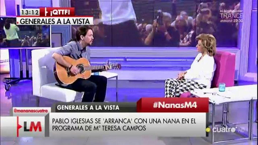 Pablo Iglesias se 'arranca' con una nana en el programa de María Teresa Campos