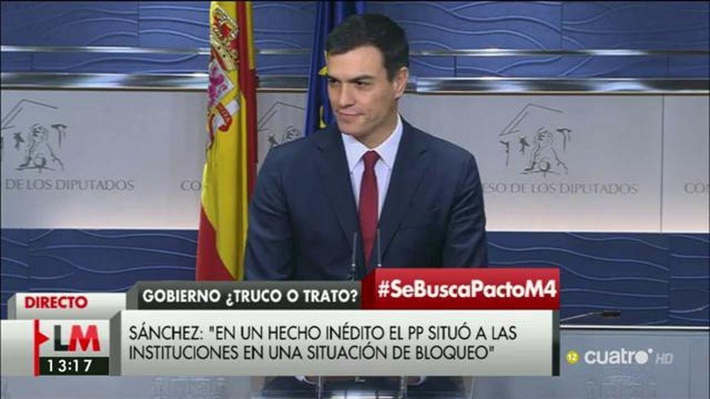 """Pedro Sánchez: """"Le he trasladado al Rey que el PSOE está dispuesto"""""""