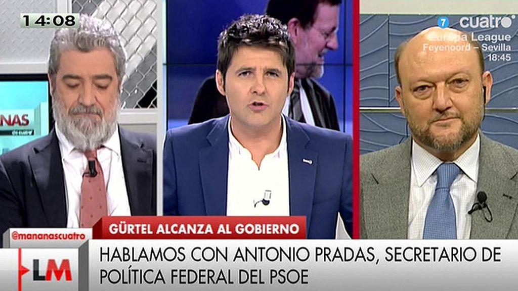 """A. Pradas: """"Quien ha venido inhabilitado para decir nada es el presidente"""""""