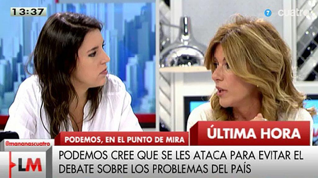 """I. Montero: """"Las personas que participan de Podemos han vivido de su trabajo"""""""