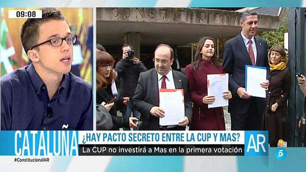 """Íñigo Errejón: """"No apoyaremos a Mas ni en una primera votación, ni en una segunda"""""""