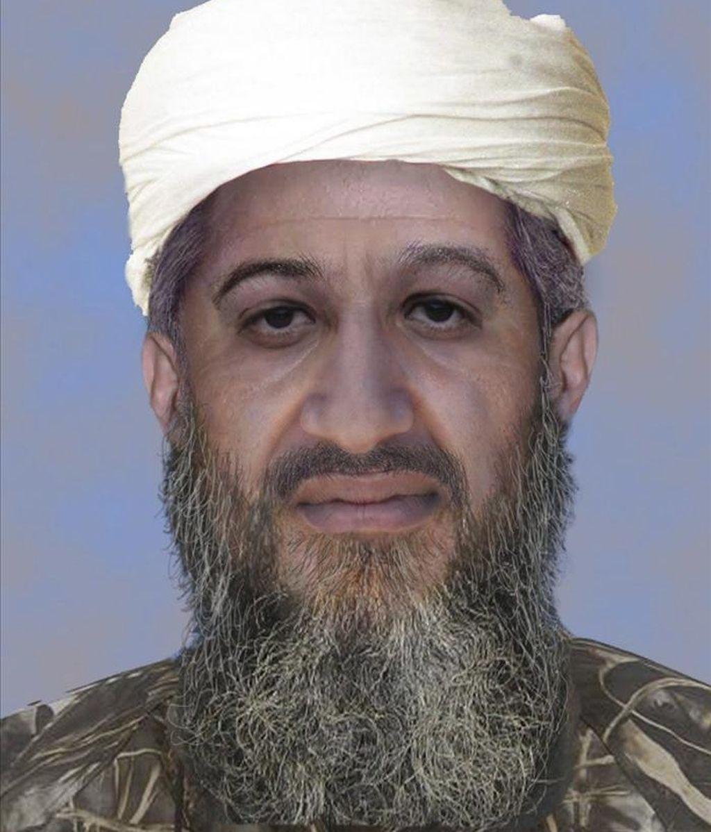 """Fotografía de archivo facilitada el 15 de enero de 2010 por el FBI que muestra la """"progresión de edad"""" del líder de Al Qaeda, Osama Bin Laden, realizada por medios digitales para mostrar el aspecto físico que podría tener en la actualidad. EFE"""