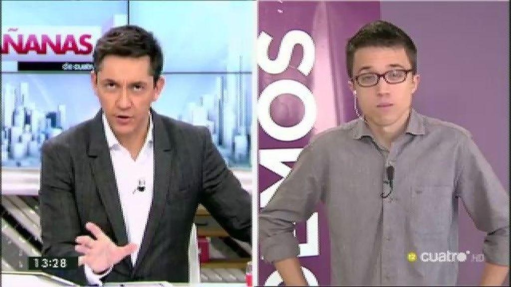 """Errejón: """"No entendemos el acuerdo mutante entre PSOE y Ciudadanos"""""""