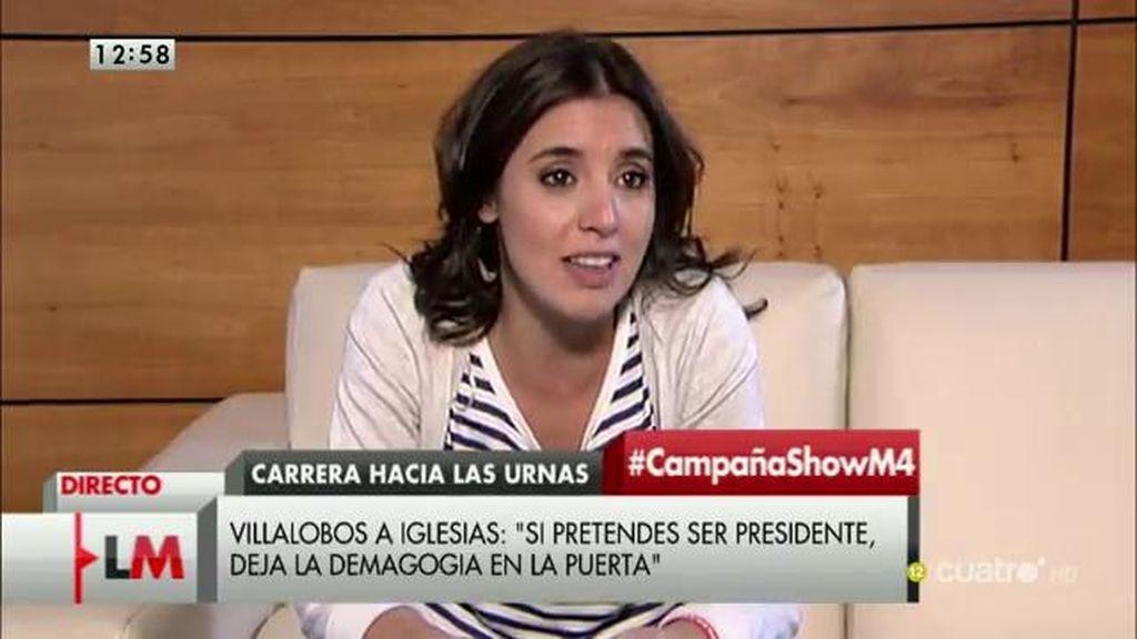 """Irene Montero: """"Creo que Villalobos no sabe que está en el partido que más casos de corrupción acumula"""""""