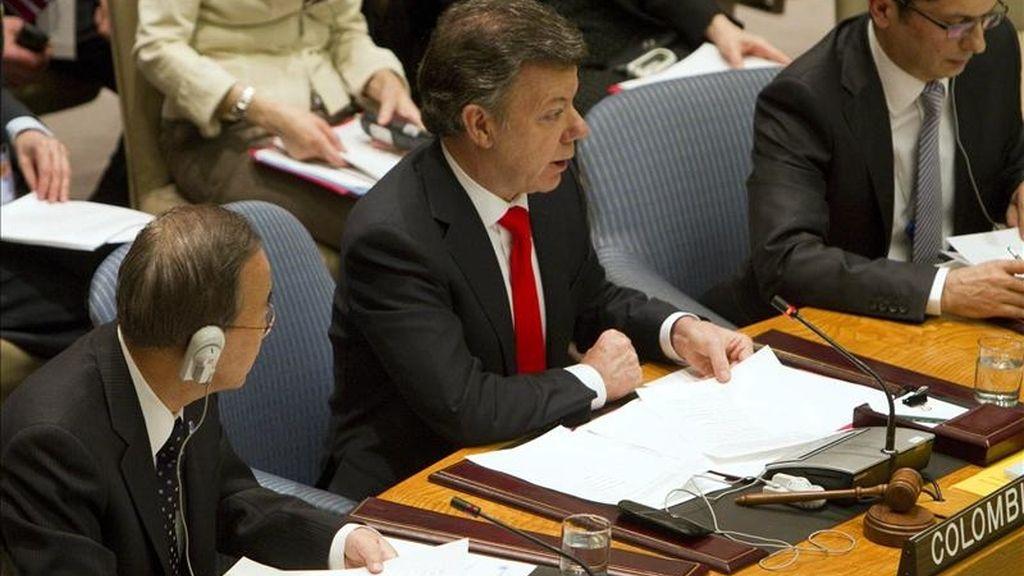 El presidente de Colombia, Juan Manuel Santos (C), preside el debate abierto del Consejo de Seguridad de las Naciones Unidas sobre la situación en Haití. EFE