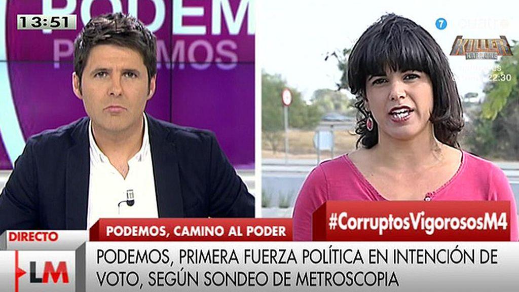 """Teresa Rodríguez (Podemos): """"Las encuestas tienen que ver con la extrema necesidad que hay de cambios políticos"""""""