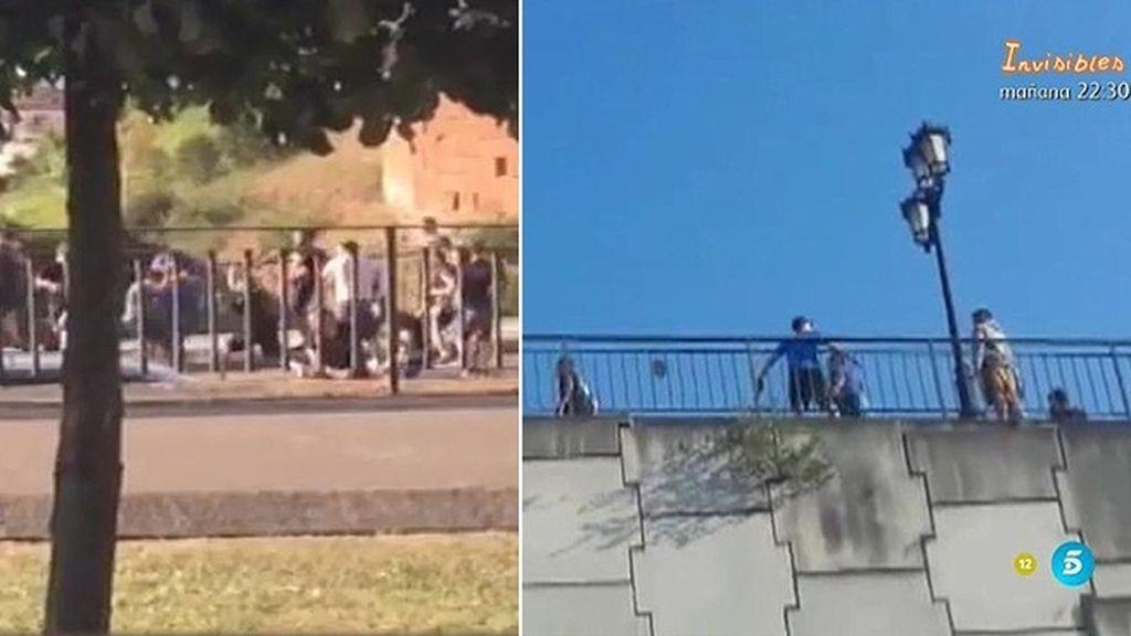 Los ultras del Oviedo y el Atleti se enfrentan a grito de 'sin cuchillos, solo puños'