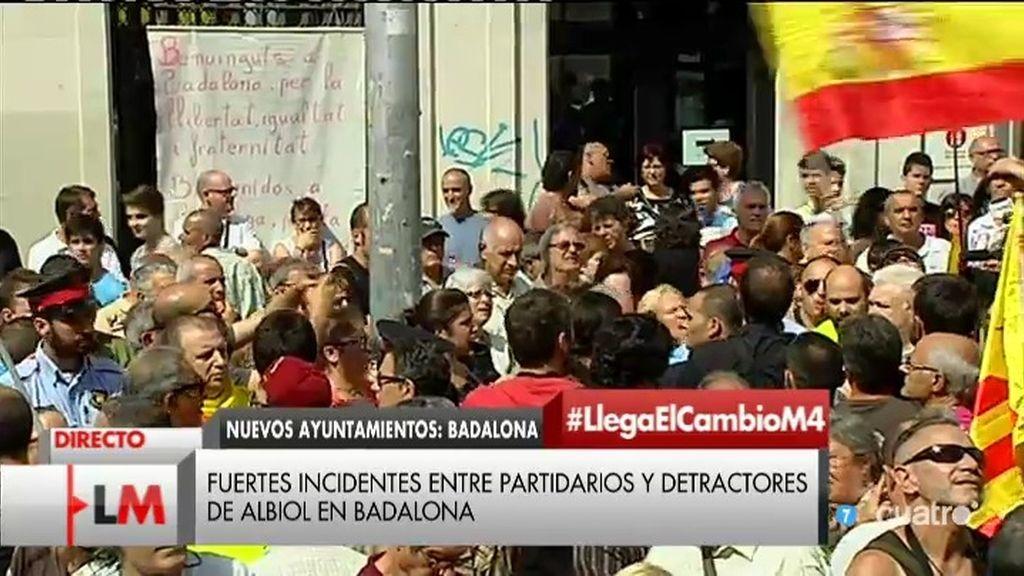 Fuertes incidentes en Badalona entre los partidarios y detractores de Albiol