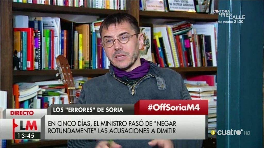 """Monedero, tras la dimisión de Soria: """"Aquí solo se asumen responsabilidades políticas cuando sale a la luz el escándalo"""""""