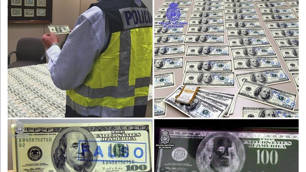 Agentes de la Policía Nacional han detenido a 11 personas en Madrid, Barcelona, Ciudad Real, Alicante y Valencia por pertenencia a un gupo especializado en la introducción de billetes de 100 dólares estadounidenses en entidades de crédito y oficinas de cambio y han interceptado un total de 34.500 de estos billetes. EFE