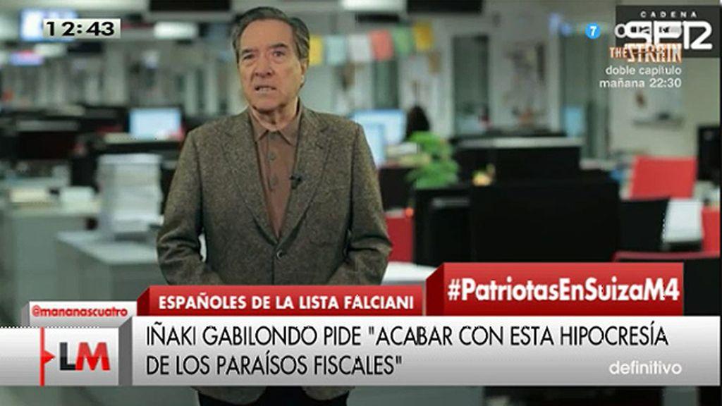 """Gabilondo cree que la lista Falciani """"es un escarnio para la sociedad"""""""