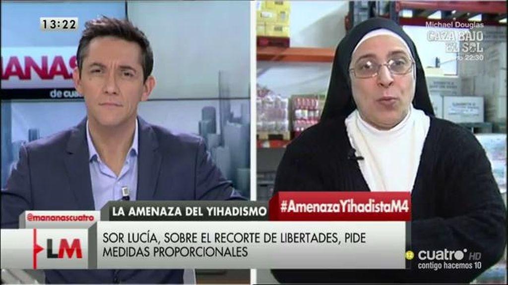 """Sor Lucía Caram: """"El odio es una forma de perder esta batalla"""""""