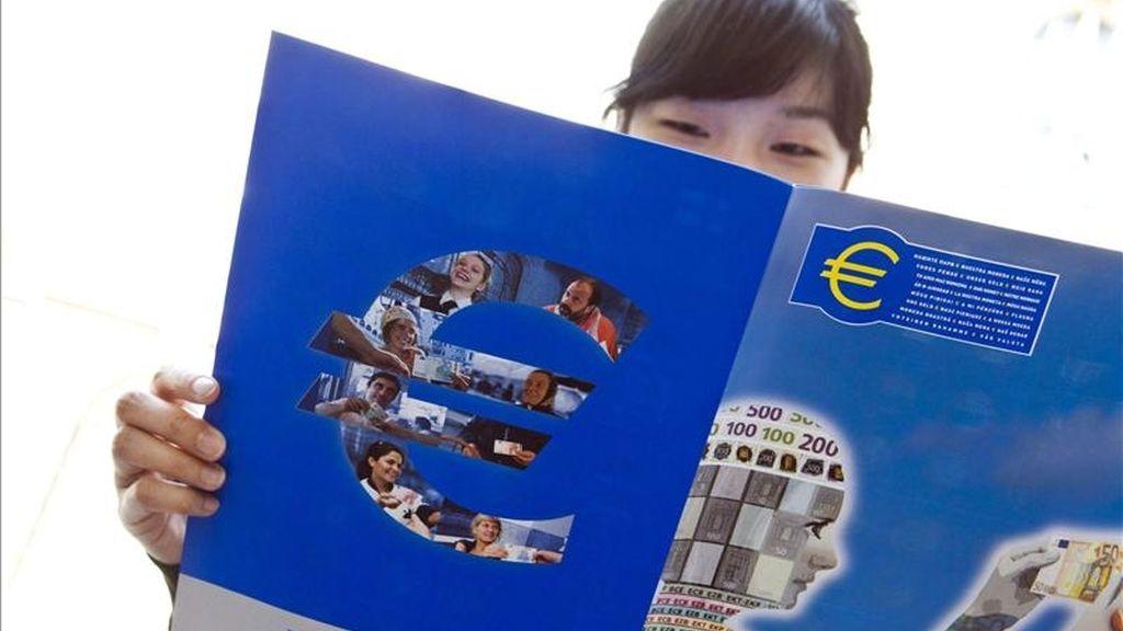 Una mujer lee un folleto sobre el euro cerca de la oficina del Banco Central Europeo (BCE). EFE/Archivo