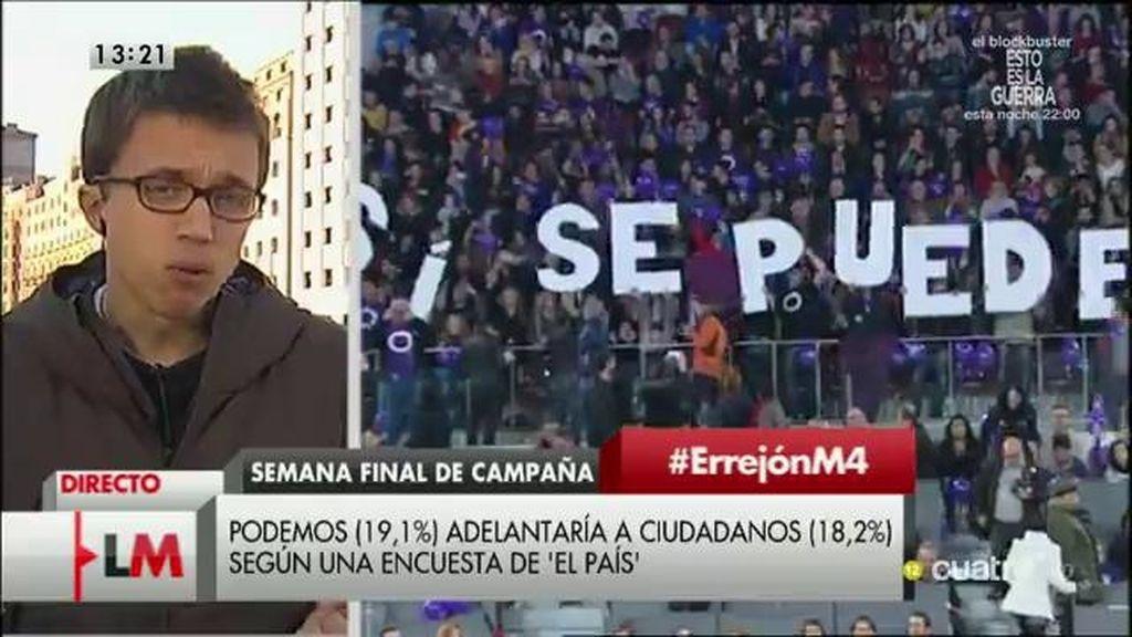 """Íñigo Errejón: """"Hay claramente una remontada de Podemos"""""""