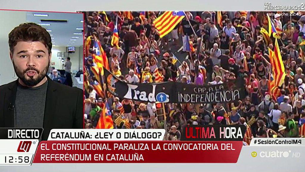 """Rufián, de la resolución del TC: """"Si van en contra de lo que la gente decide en Cataluña, no lo acataremos"""""""