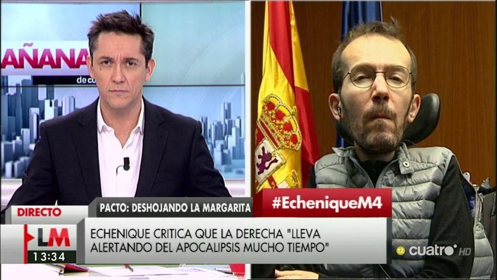 """P. Echenique: """"Me inquieta un poco que esta escenificación tenga que ver con un deseo del PSOE de que pueda haber nuevas elecciones"""""""