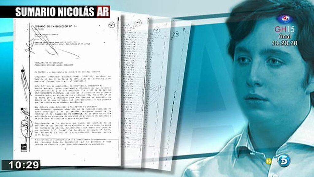 'AR' tiene acceso a la declaración de Francisco Nicolás ante el juez