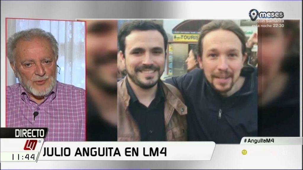 """Anguita, del acuerdo de IU-Podemos: """"Que este pacto se haya verificado responde a mis expectativas personales, estoy satisfecho"""""""