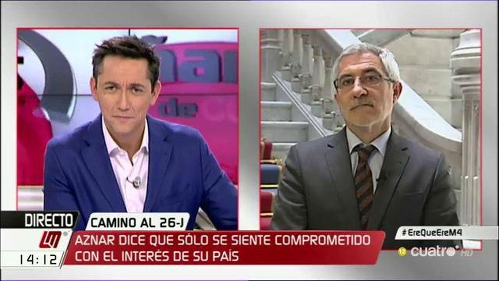 """Llamazares: """"Aznar se ha situado en el discurso profético anunciando catástrofes incluso a su propio partido"""""""