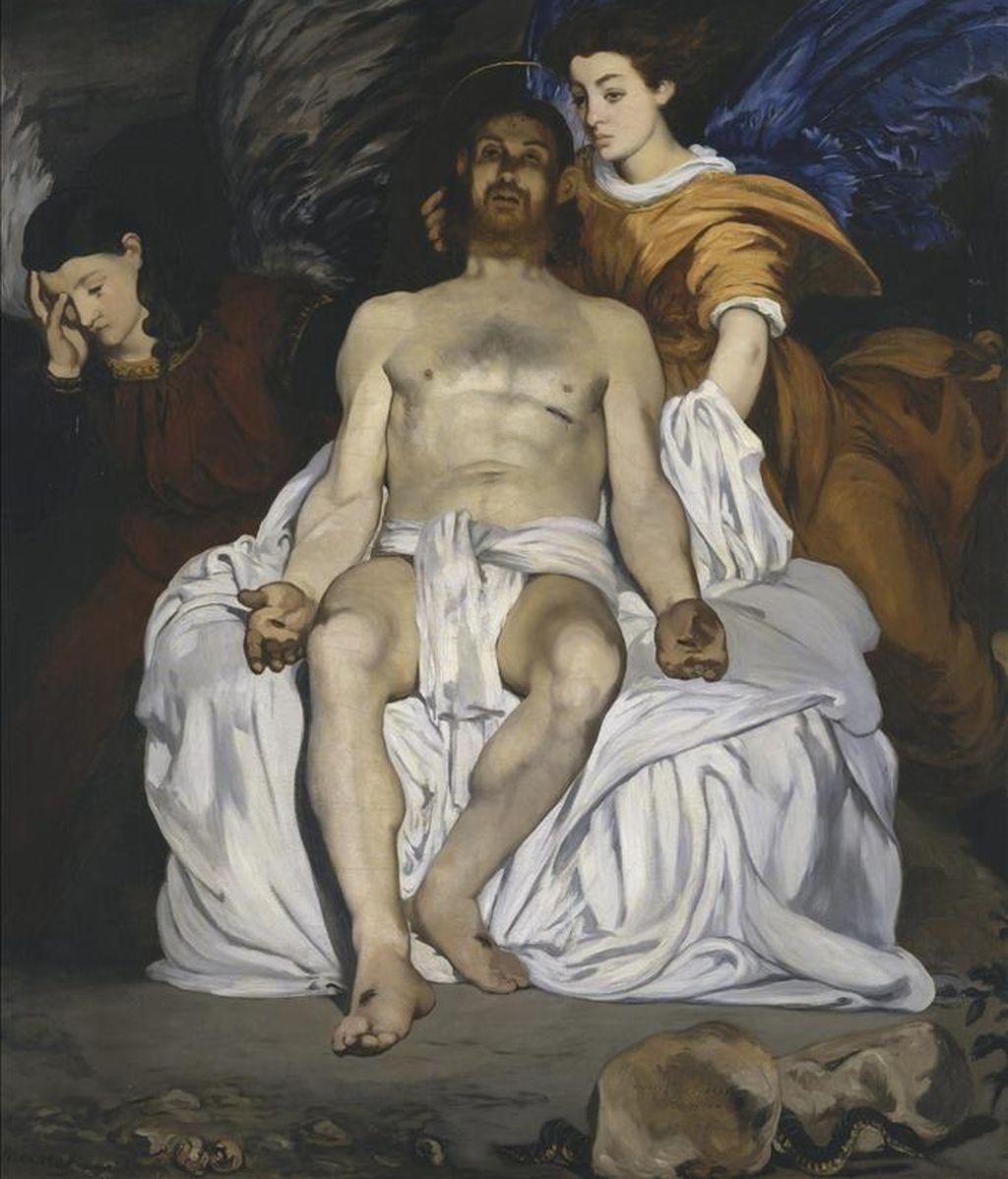 """Fotografía facilitada por el Metropolitan Museum of Art de Nueva York del óleo """"Le Christ aux anges"""" (1864), de Édouard Manet, que forma parte de la muestra """"Manet, inventeur du Moderne"""". EFE"""