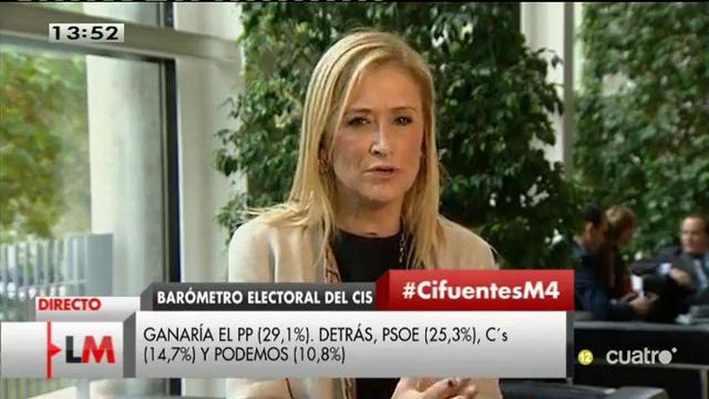 """Cifuentes: """"Ciudadanos tiene un proyecto más afín que el del PSOE o Podemos"""""""