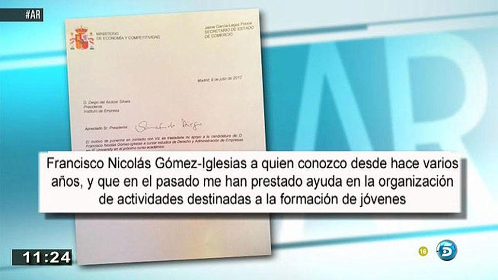 'AR' tiene acceso a la carta que escribió G. Legaz para que admitieran a F. Nicolás en la Escuela de Negocios