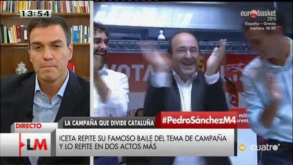"""Pedro Sánchez: """"Me cuesta arrancarme a bailar, pero estoy aprendiendo con Iceta"""""""