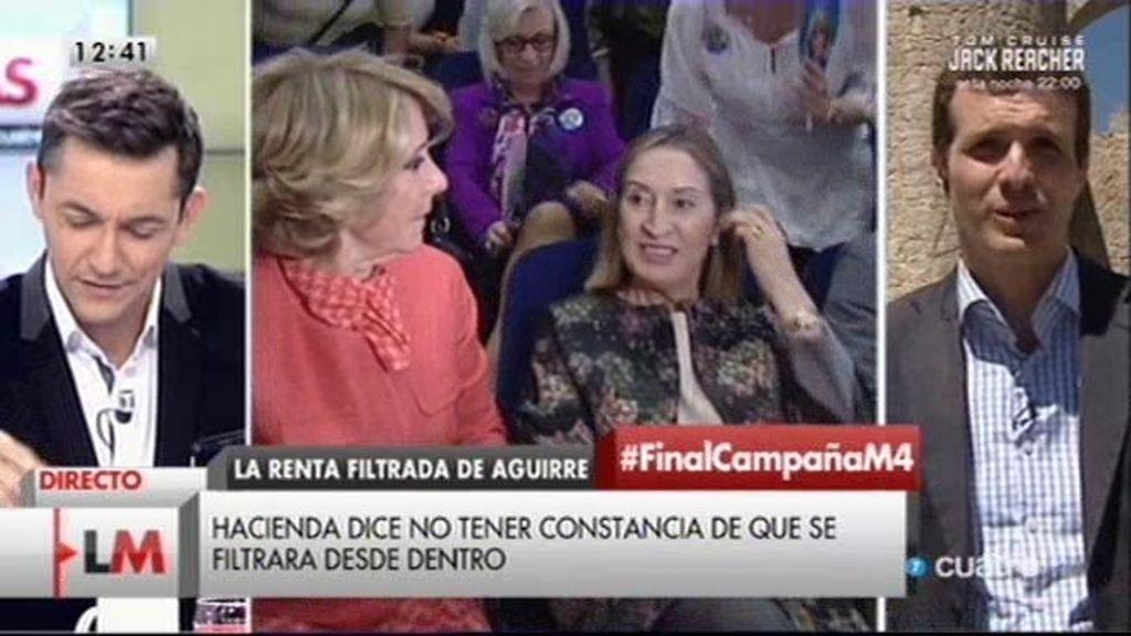"""Pablo Casado, sobre Aguirre: """"Lo mínimo que puede haber en una democracia es la protección de datos"""""""
