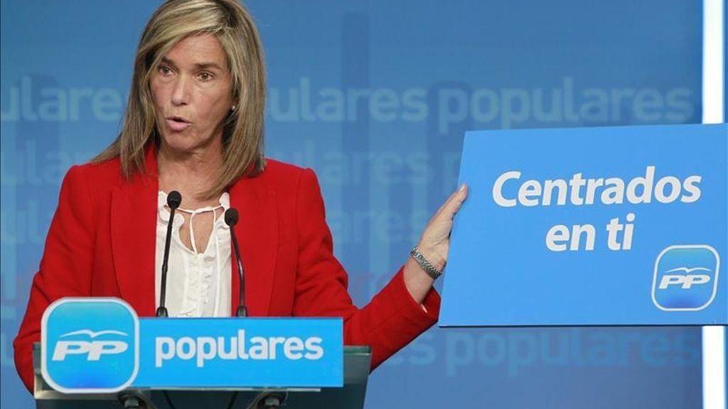 La vicesecretaria de Organización y Electoral del PP, Ana Mato, durante la presentación hoy en Madrid de la campaña electoral de su partido para los comicios autonómicos y municipales del 22 de mayo. EFE