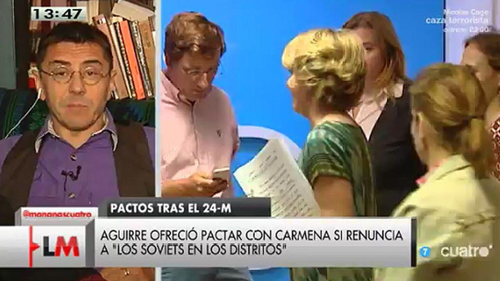 """Monedero, a Aguirre: """"Este es el soviet de mi casa, está invitada a tomar café"""""""