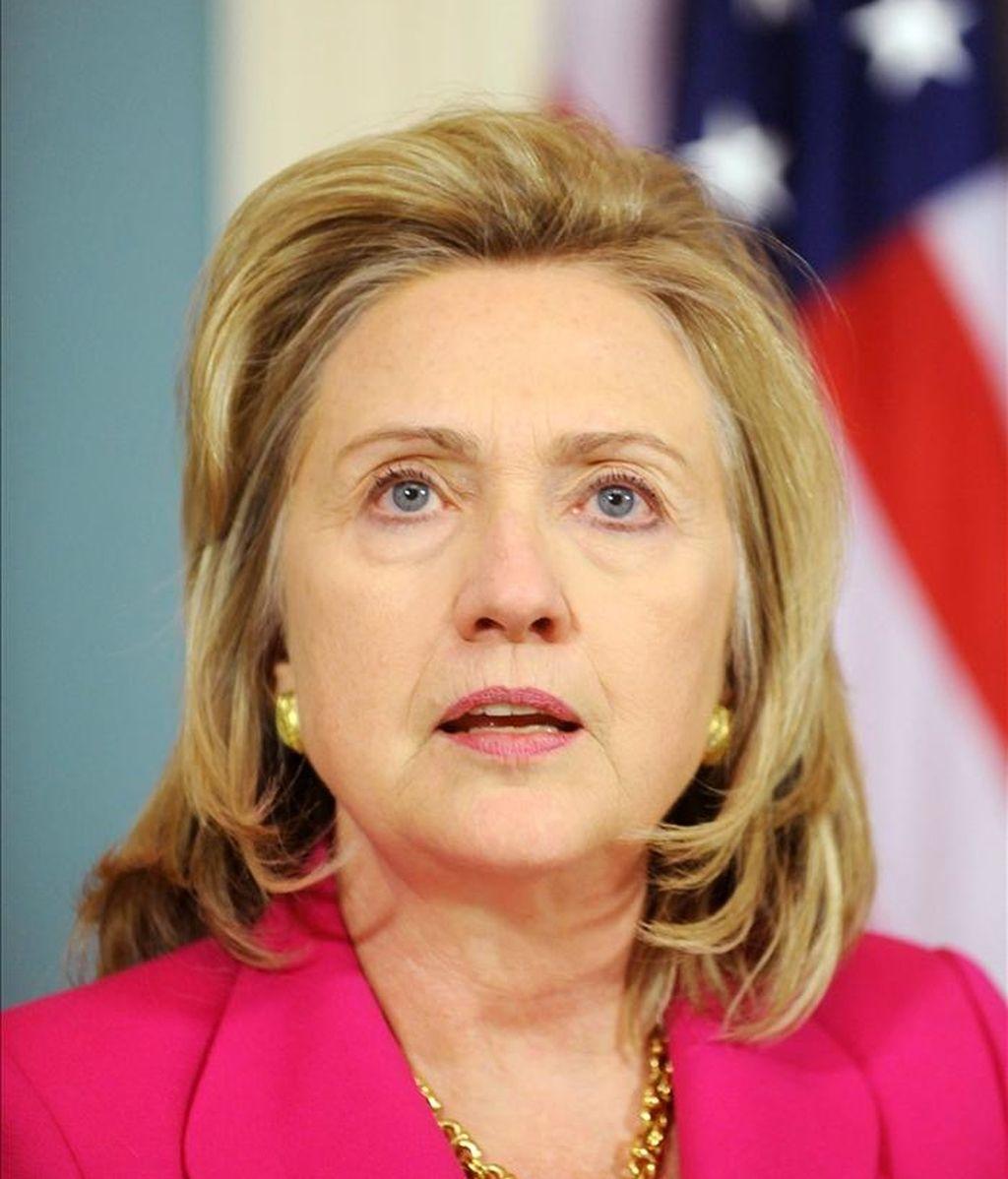 La secretaria de Estado, Hillary Clinton, recordó en una comparecencia el triunfo histórico que supone la muerte de Bin Laden para la lucha contra el terrorismo, pero aseguró que el combate continua. EFE/Archivo