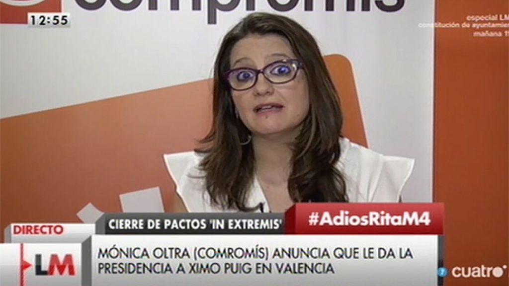Oltra explica su propuesta sobre la formación del nuevo gobierno en Valencia