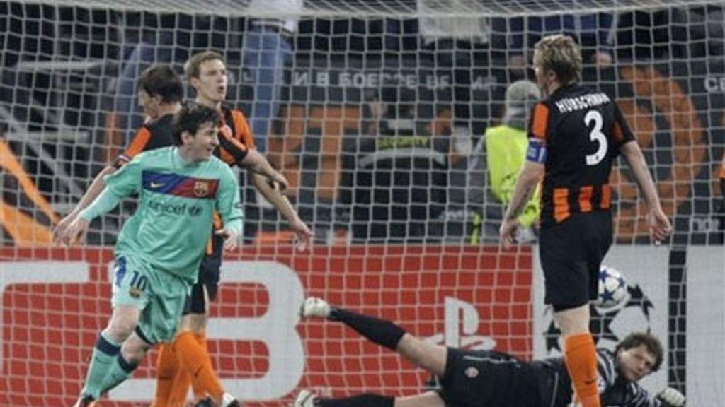 La 'pulga', que superó a Rivaldo como máximo anotador en las competiciones europeas del Barça este temporada, no para de batir récords. Foto: AP.