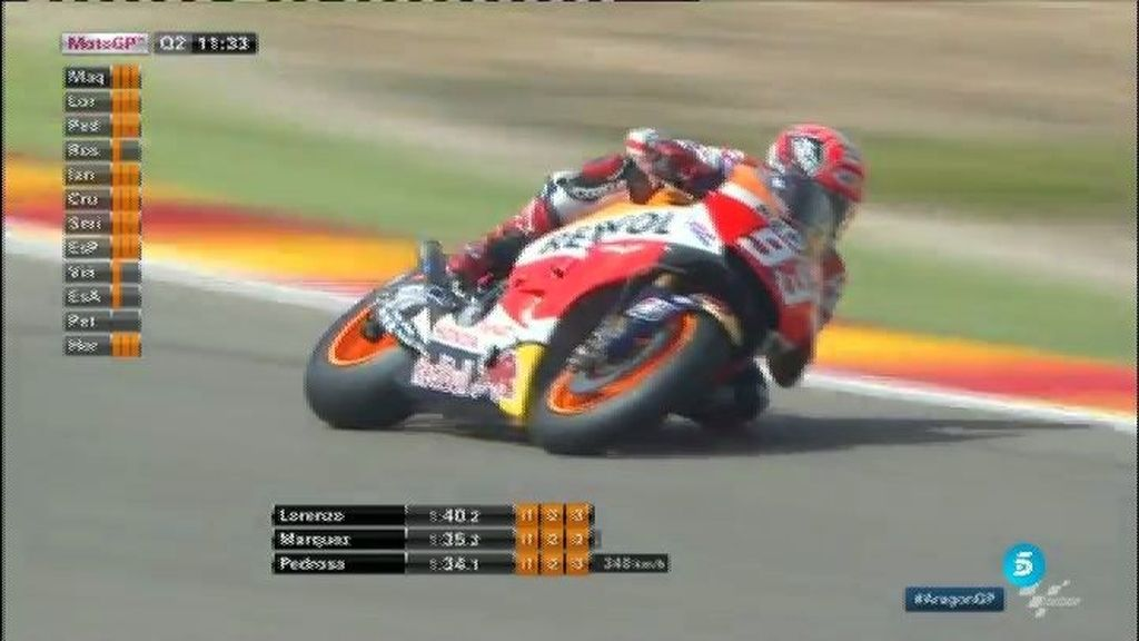 Marc Márquez pole y Jorge Lorenzo marca distancia a Rossi en el GP de Aragón