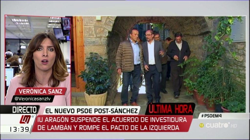 Última hora: Izquierda Unida suspende el acuerdo con el PSOE en Aragón