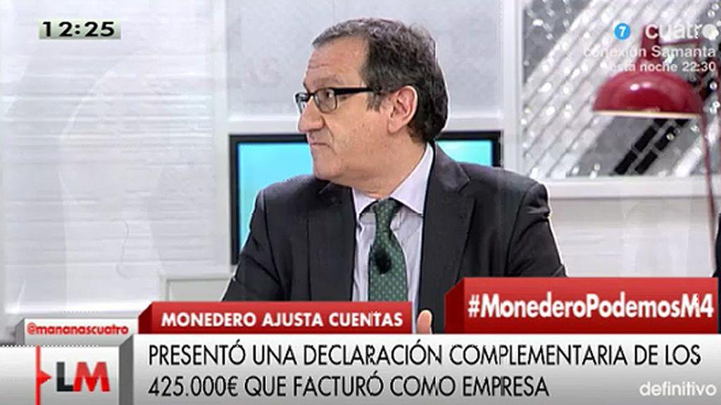 """C. Cruzado, de Monedero: """"Al hacer la complementaria reconoce que en su momento no hizo el pago que correspondía"""""""